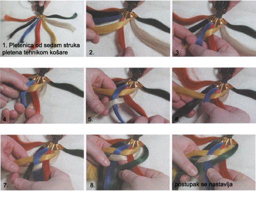 Pletenica od sedam struka pletena tehnikom kosare