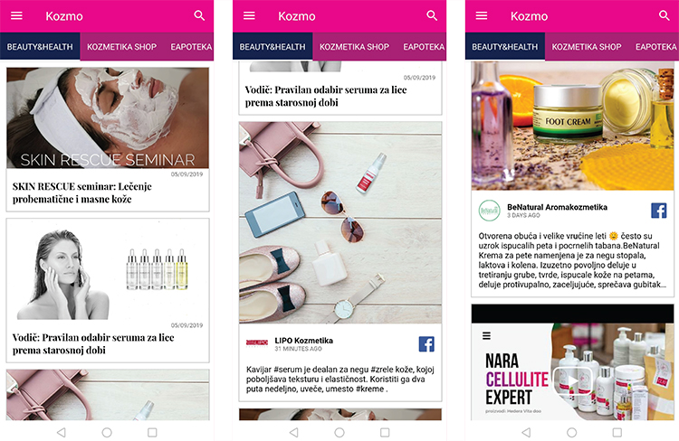 Kozmo mobilna aplikacija postovi na društvenim mrežama