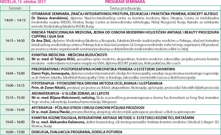 Program seminara na 30. sajmu kozmetike