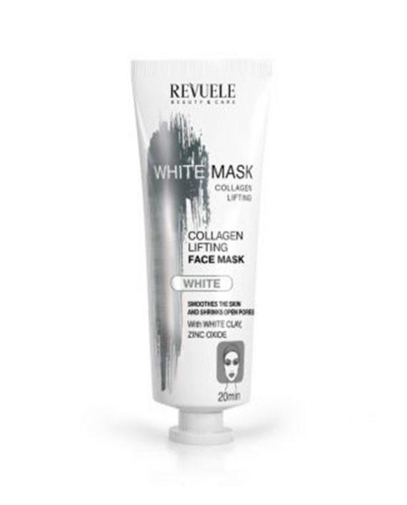 Bela maska za zatezanje lica sa kolagenom elastinom i belom glinom Revuele lifting