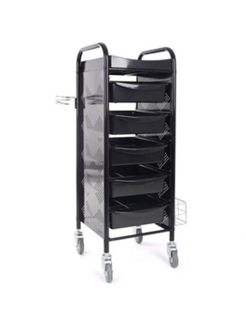 Frizerska pomocna radna kolica za viklere i frizerski pribor M-3017B sa 5 fioka i metalnim drzacem za fen