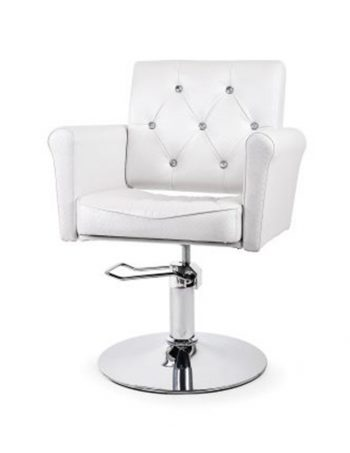 Frizerska radna stolica sa hidraulikom NV- 5852 sa cirkonima bela