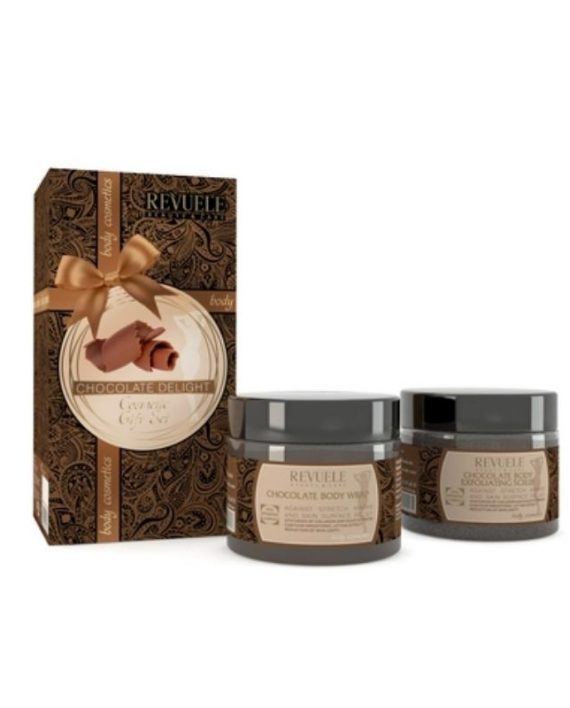 Poklon set za piling i korekciju konture tela REVUELE Chocolate Delight