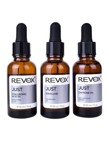 Set seruma za lice REVOX Just Caffeine 5%, Hyaluronic Acid 5% & Squalane 3x30ml