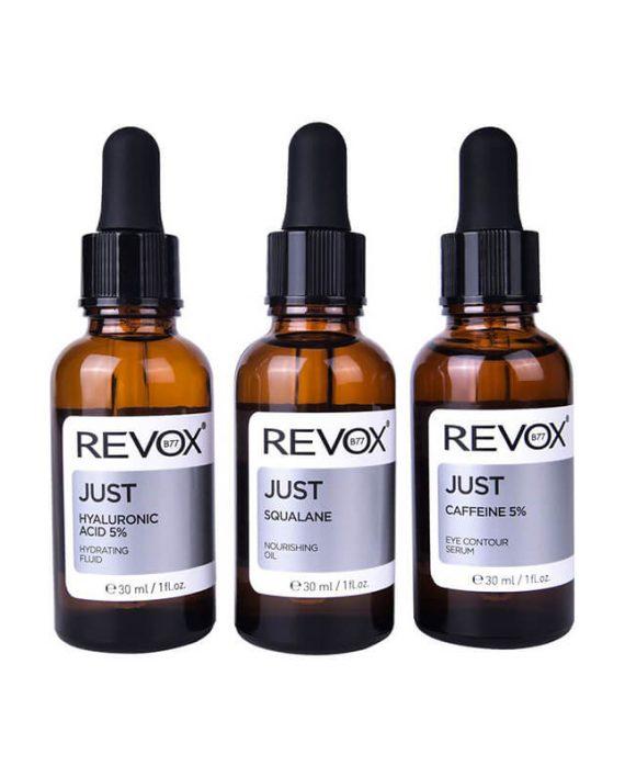 Set seruma za lice REVOX Just Caffeine 5%, Hyaluronic Acid 5% & Squalane 3x30ml